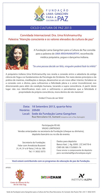 convite palestra Dra. Uma Krishnamurthy